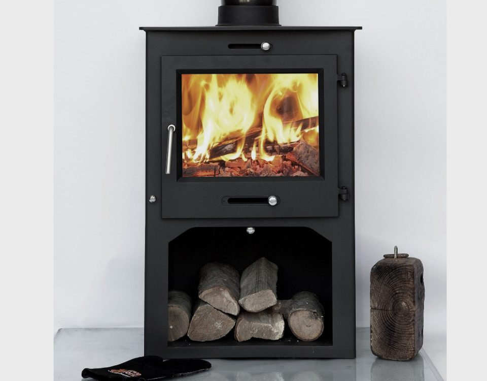 Ottawa Square 12 KW with Log Stand fireplace