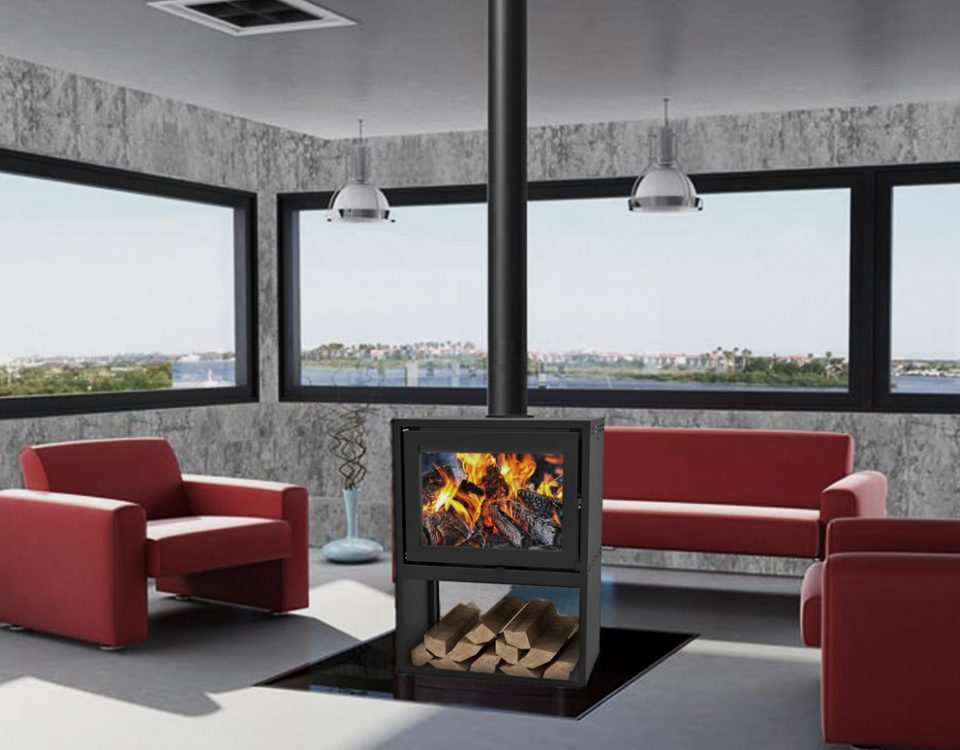 Taurus SI Double Sided Freestanding fireplace